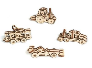 Vehicles Set of 4 U-Fidget-Tribiks ~ UGears Mechanical Models
